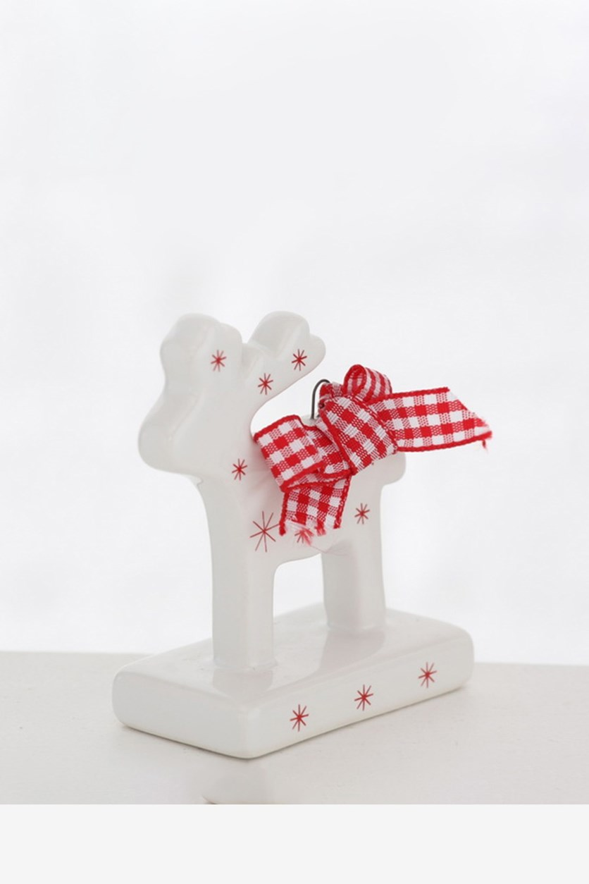 Decorative Figure Deer, White/Red