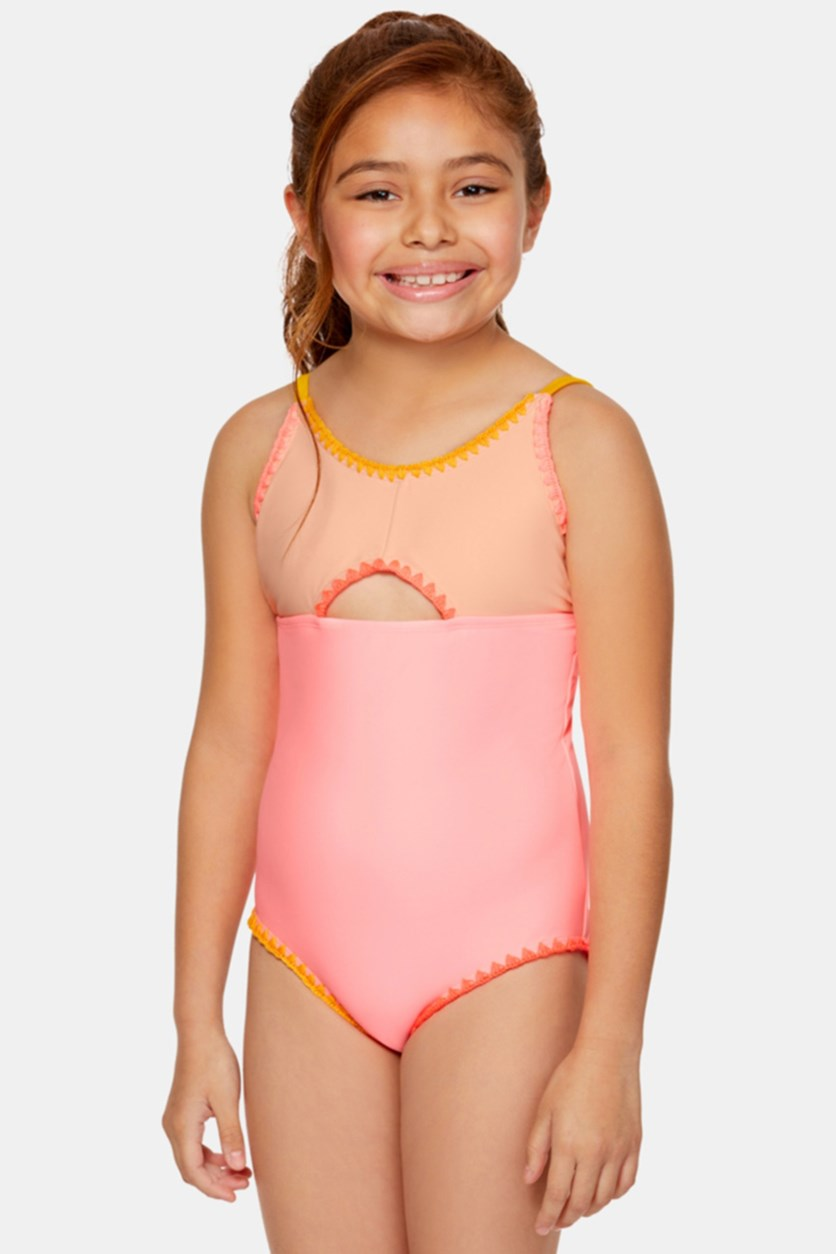 Big Girls 1-Pc. Colorblocked Swimsuit, Coral