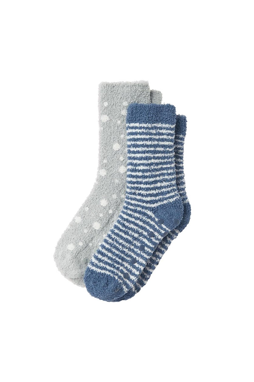 2 Pairs Soft Children's Socks, Blue/White/Grey