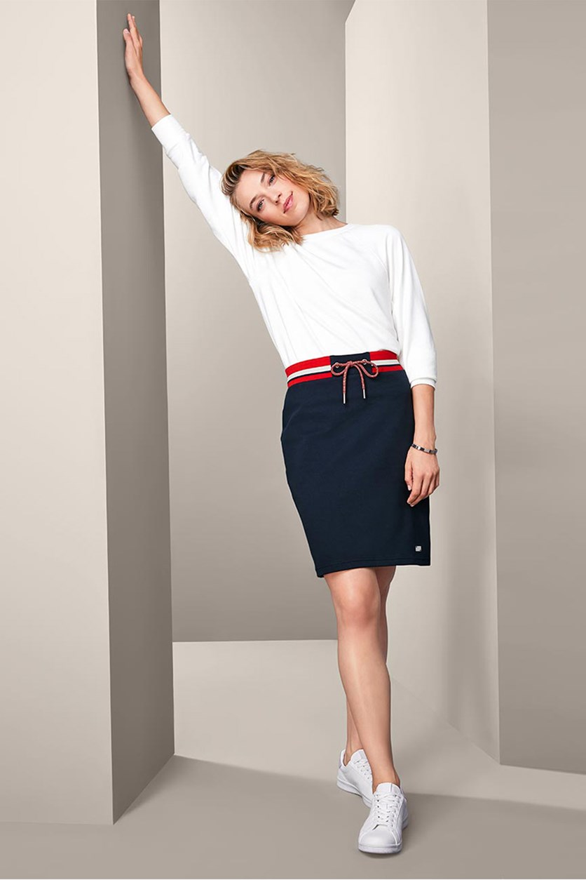 Women's Sweat Skirt, Navy Combo