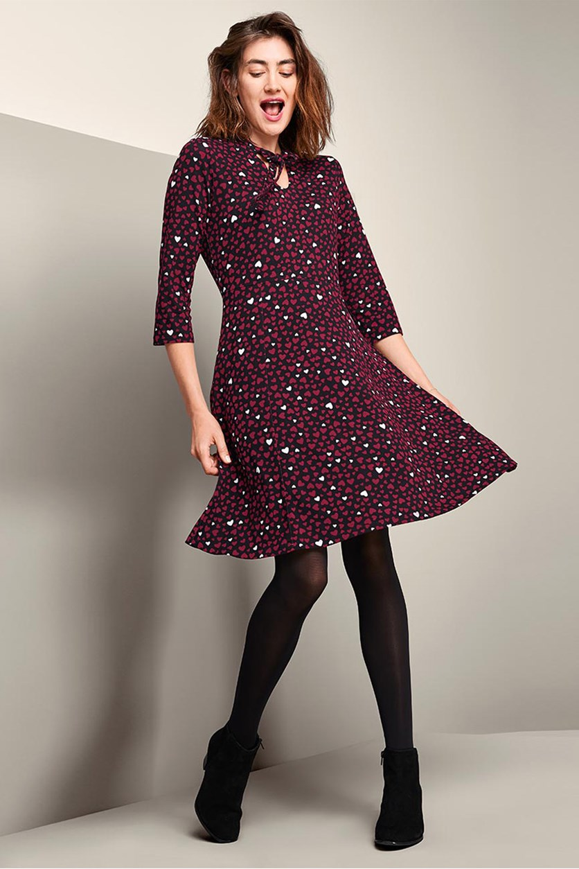 Women's Heart Print Dress, Maroon/Black