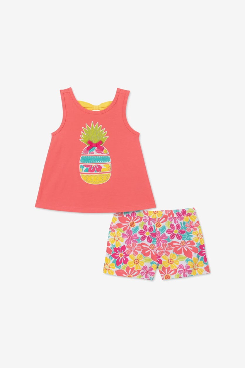 Toddler Girls 2-Pc. Tank Top & Shorts Set, Coral Pink Combo