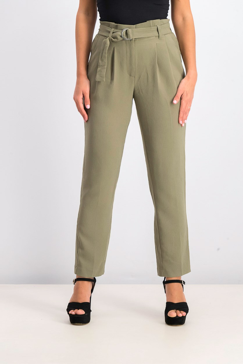 Women's Aileen Belted Paper Bag Waist Pants, Olive