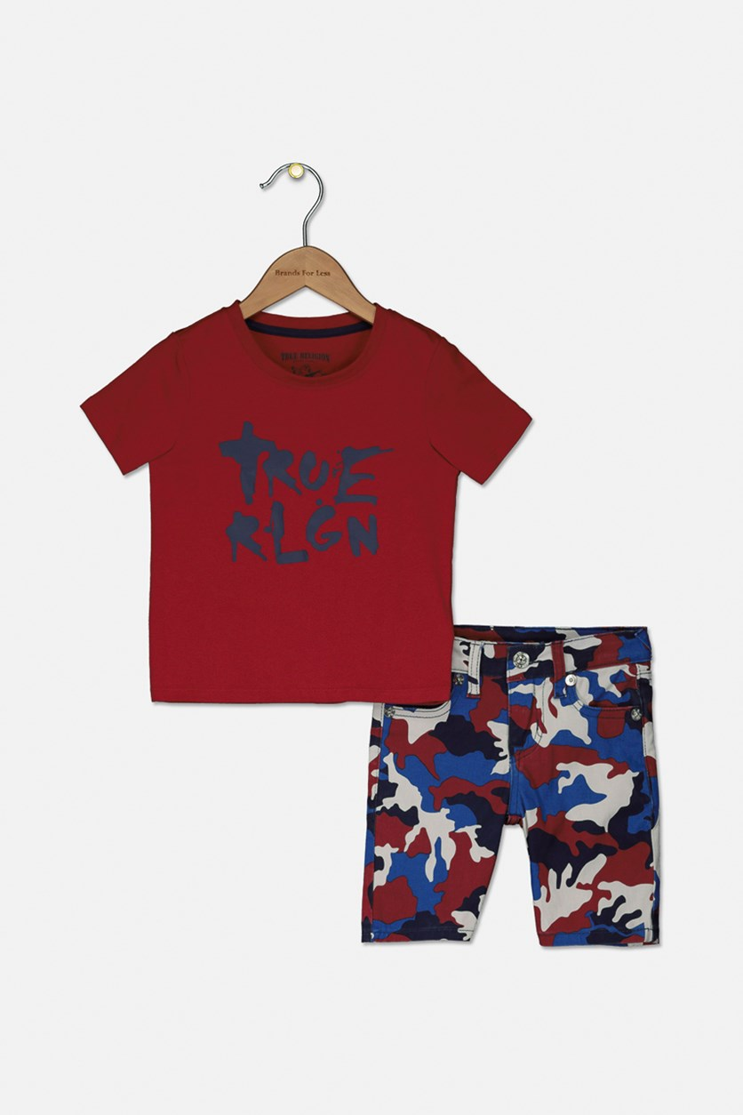 Toddlers Boys Camouflage Short Set, Red camouflage