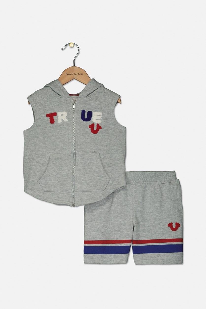 Toddlers Hoody Set, Heather Grey