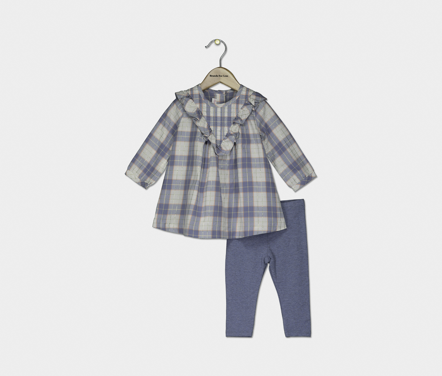 Baby Girl Ruffled Plaid Tunic & Leggings Set, Blue Combo