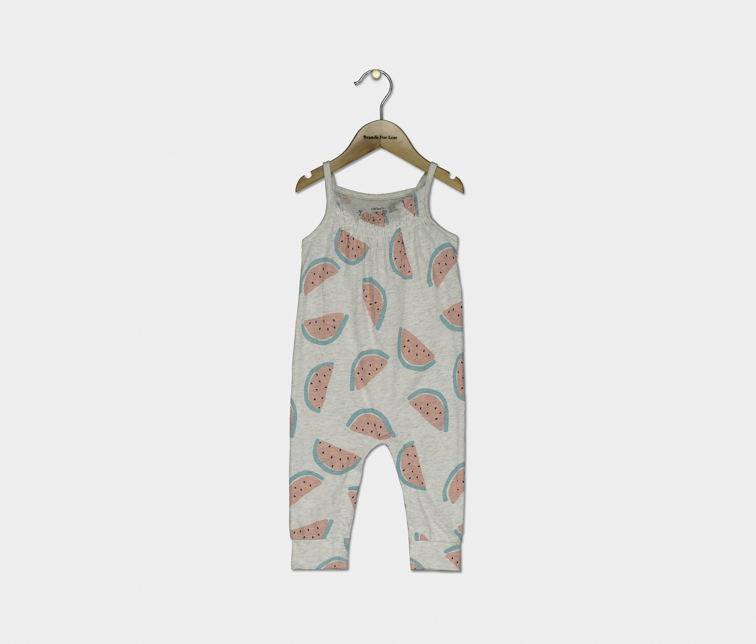 Baby Girls Watermelon-Print Cotton Jumpsuit, Grey Combo