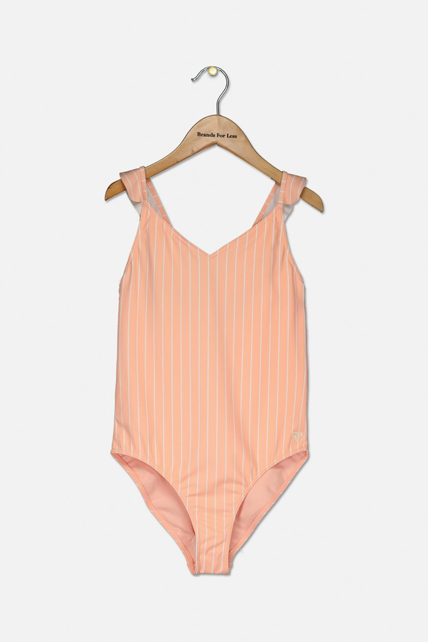 Big Girls Striped One-Piece Swimsuit, Peach
