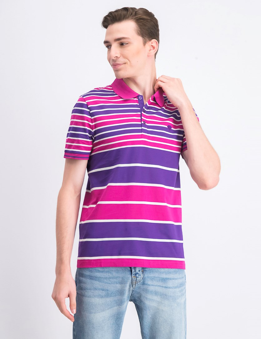 Men's Stripe Print Polo Shirt, Purple/Pink/White