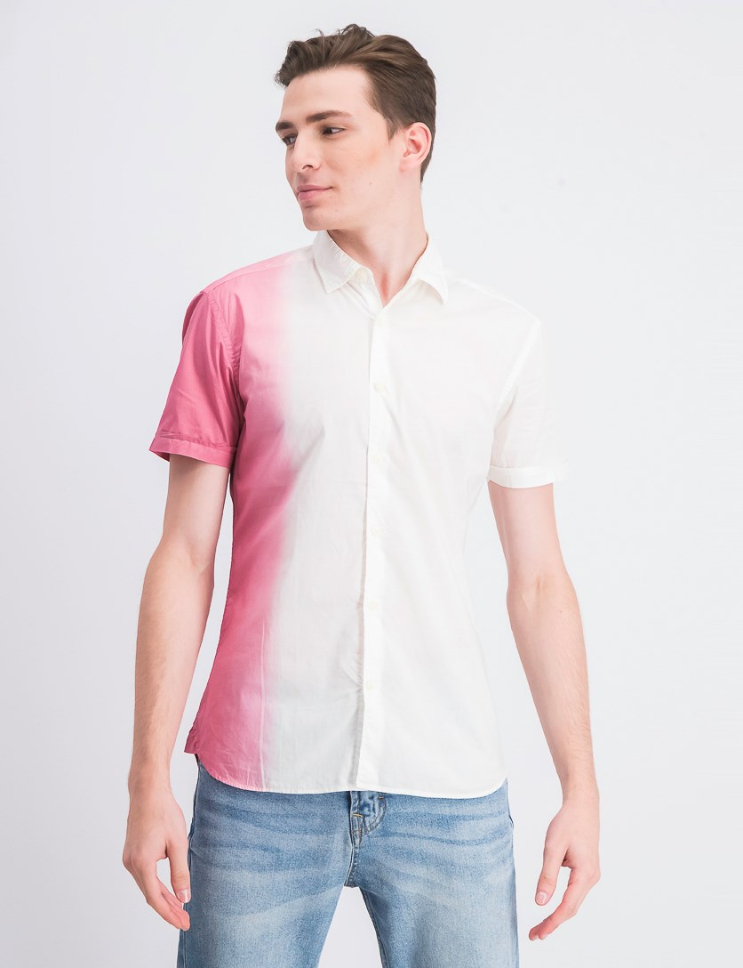 Men's Slim Fit Colorblock Casual Shirt, Pink/Ivory