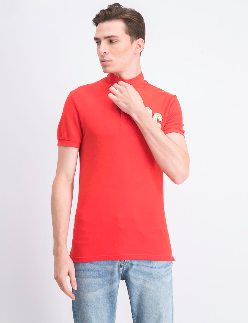 Men's Embroidered Polo Shirt, Red