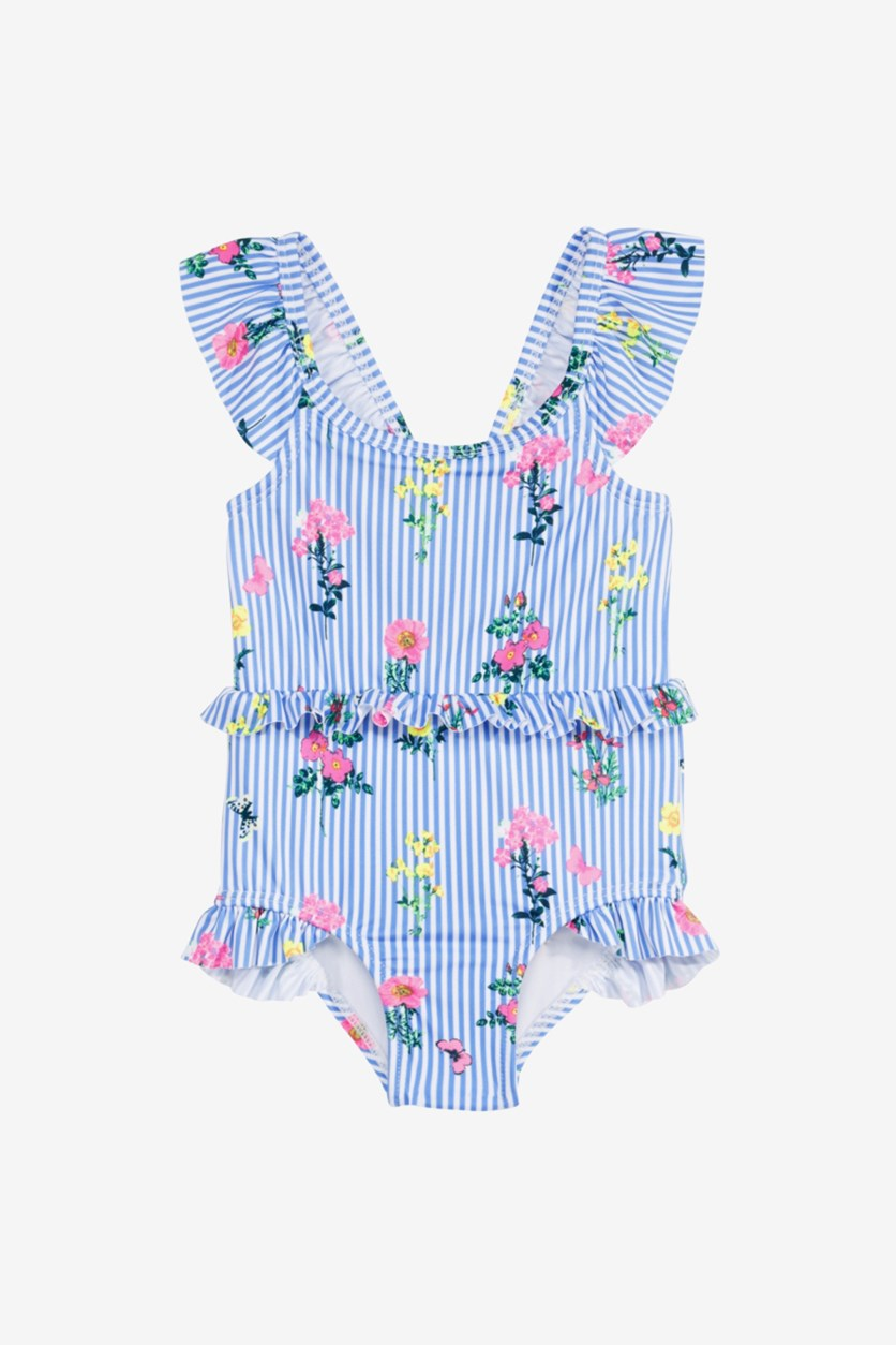Toodlers Girls 1-Pc. Floral-Print Striped Swimsuit, Blue Combo