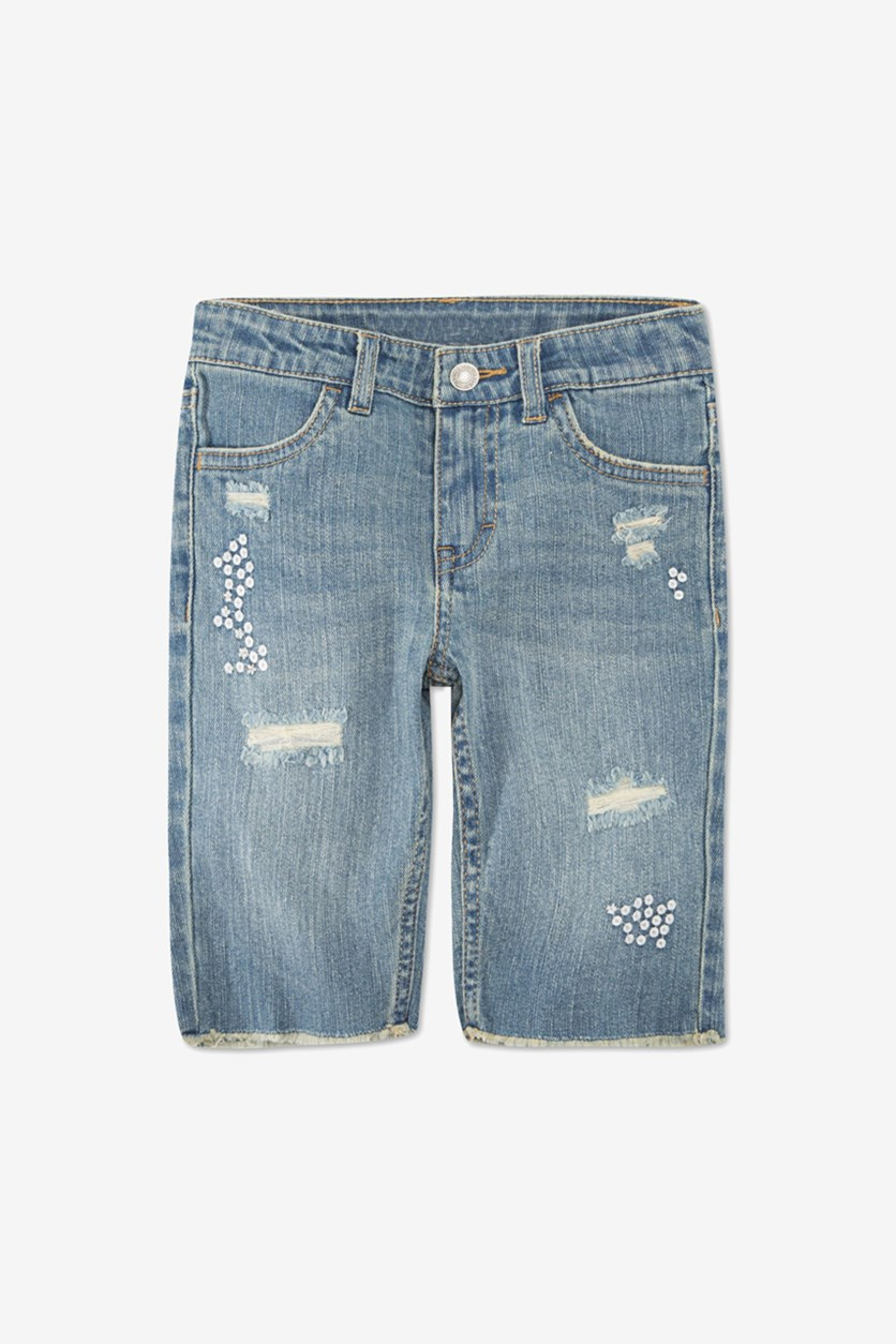 Toddler Girls Distressed Denim Bermuda Shorts, Wash Blue