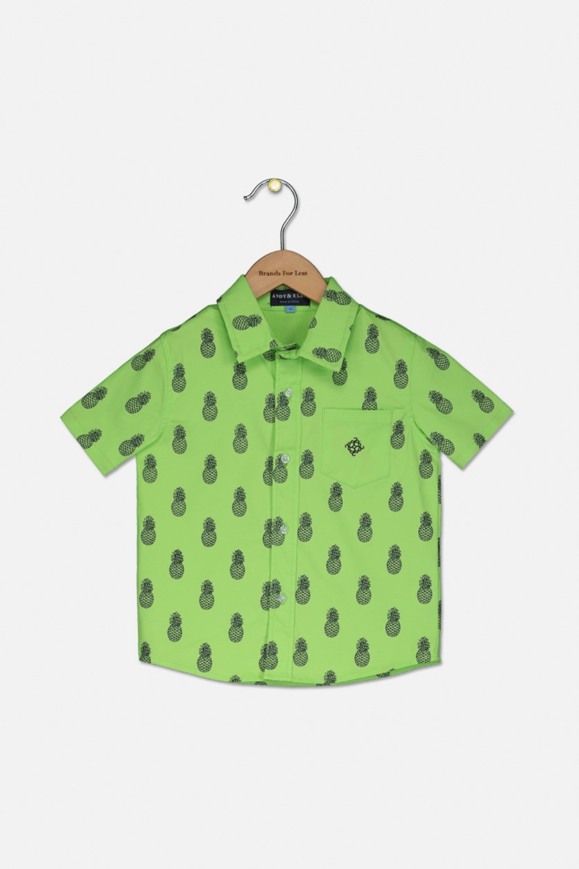 Toddlers Short Sleeve Pineapple Print Top, Lime Green