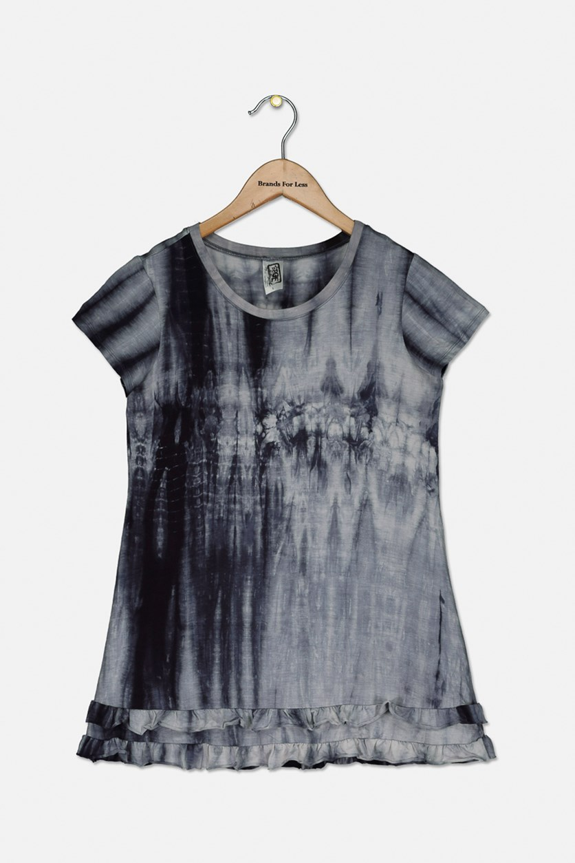 Kids Girls Tie Die Dress, Navy Combo