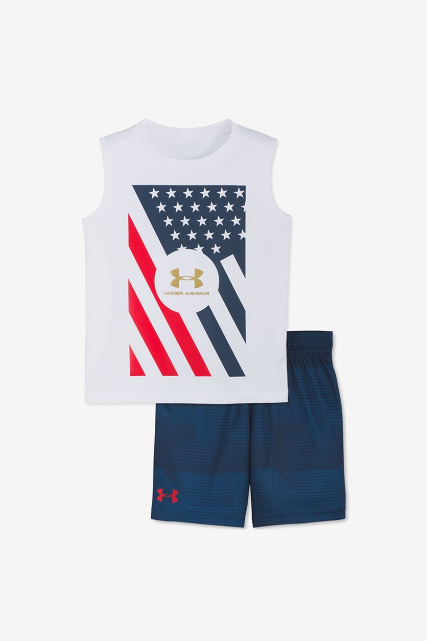 Kids Boys 2-Pc Tank Top & Shorts Set, White/Navy