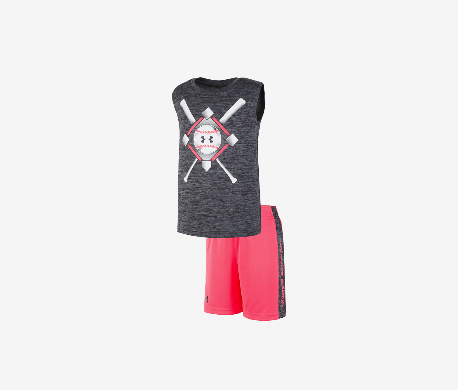 Toddler Boys2-Pc. Baseball Anthem Tank Top & Shorts Set, Grey/Pink