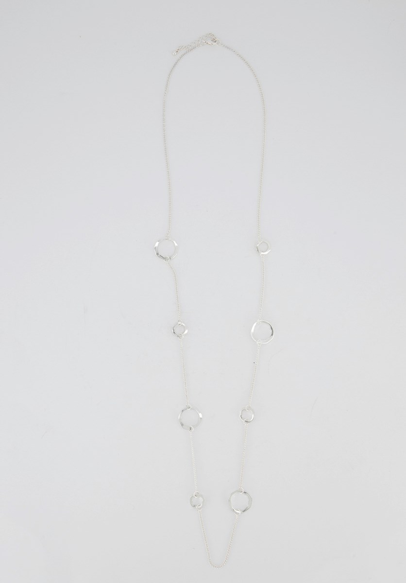 Women's Long Necklace, Silver