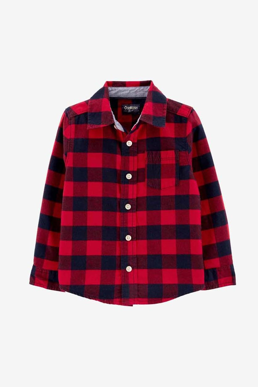 Kids Boy's Plaid Shirt, Red/Navy