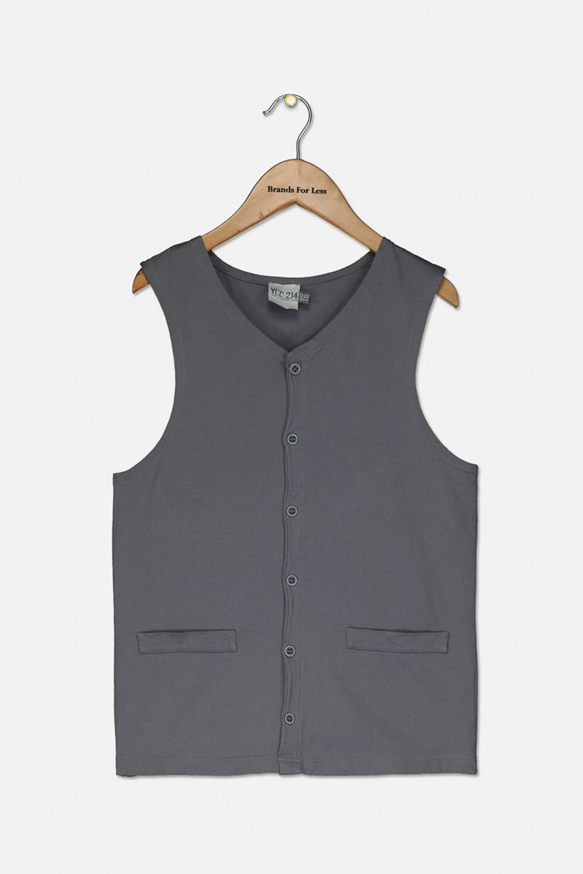 Girls Sleeveless Top, Grey