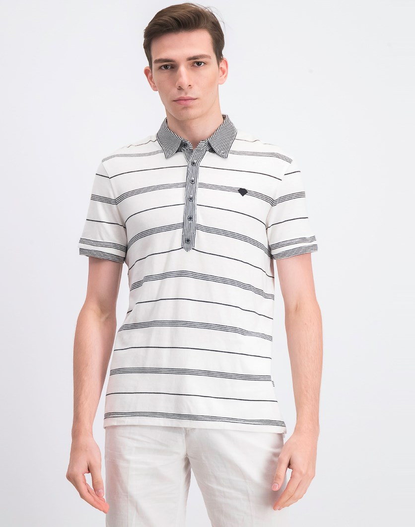 Men's Pullover Stripe Polo Shirt, White/Black