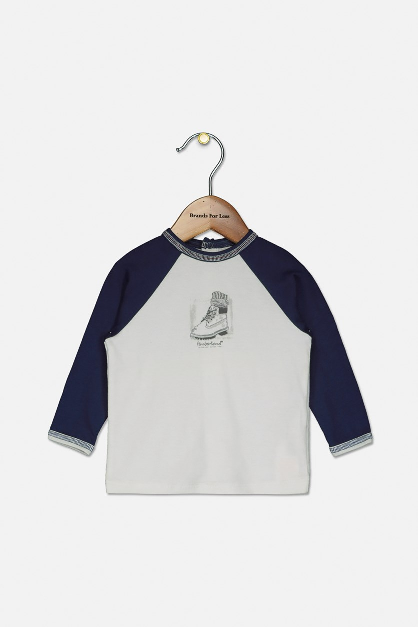 Toddlers Long Sleeve Top, White/Blue