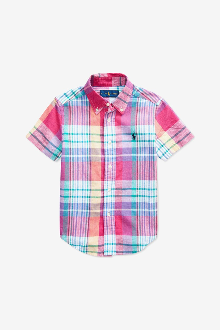Toddler Boys Cotton Plaid Shirt, Red/Blue Combo