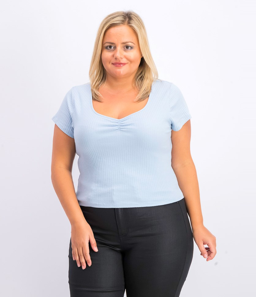 Women's Textured V-Neck Top, Baby Blue