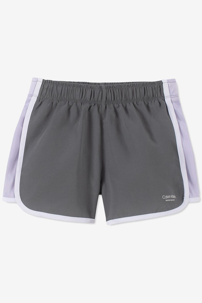 Big Girls Slim-Fit Colorblocked Sport Shorts, Grey/Lilac