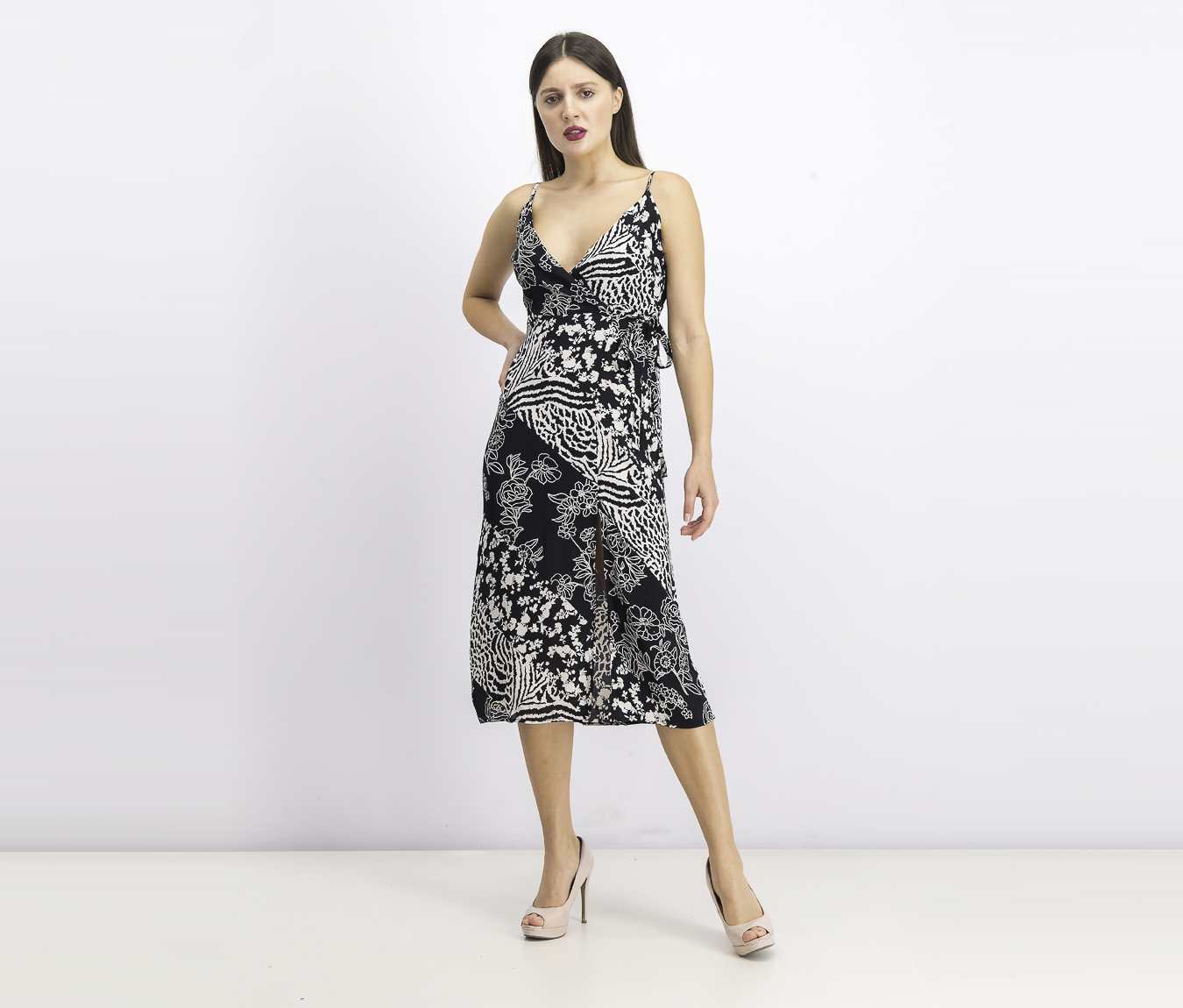 Womens Printed Dress, Black/Ivory
