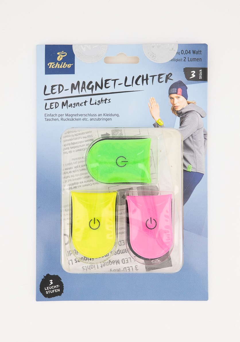 3 LED Magnet Lights, Green/Pink/Yellow