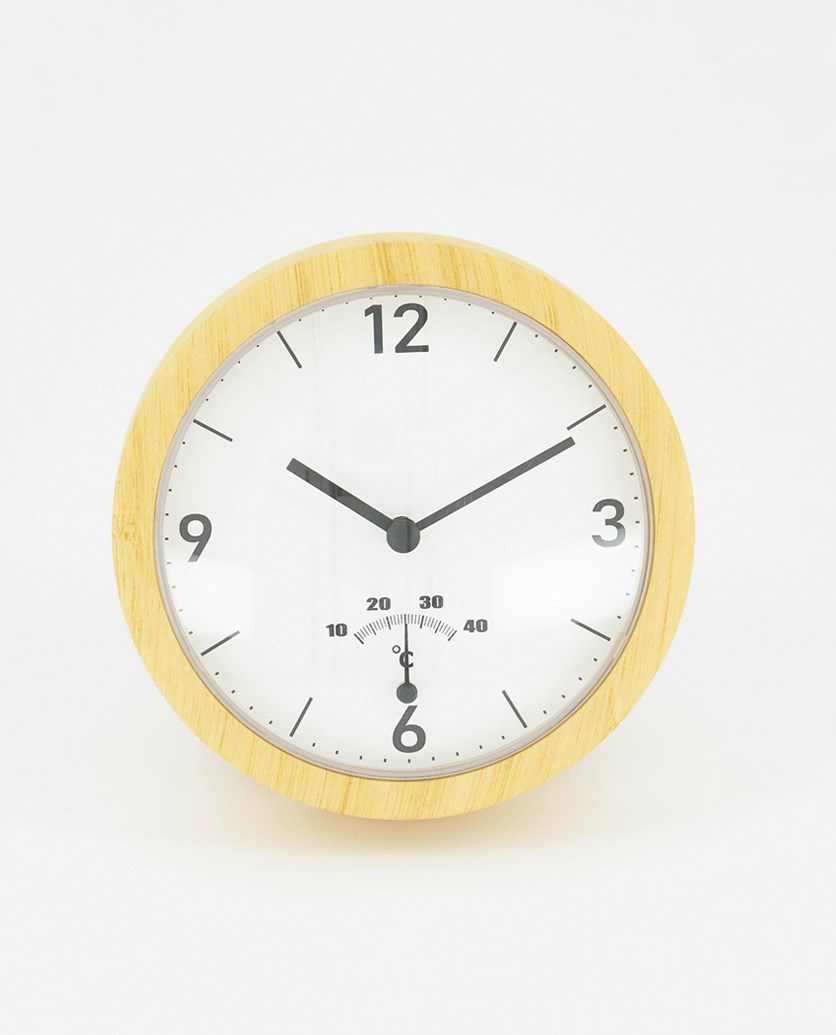 Bath Wall Clock, Khaki/White