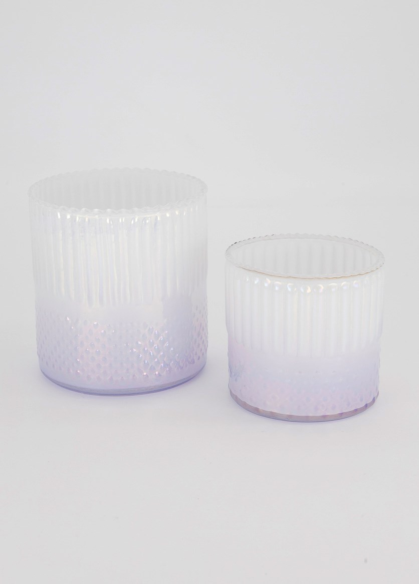 Set of Two Windlight, Lavender/White