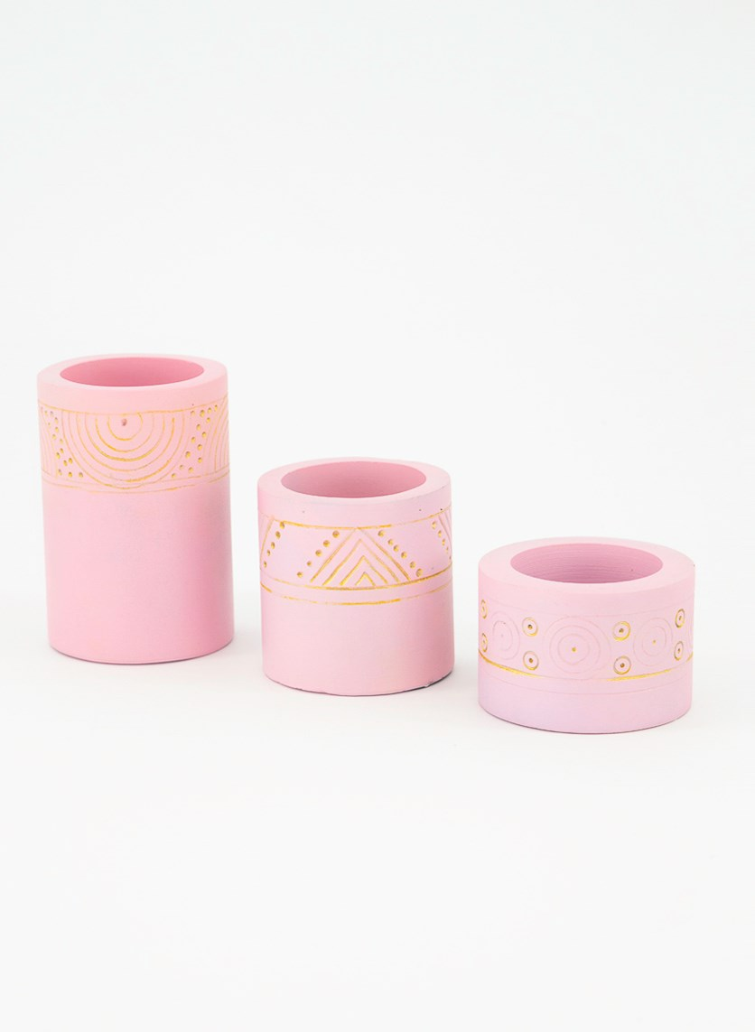 Tealight Holder Gwenna Set of 3, Pink