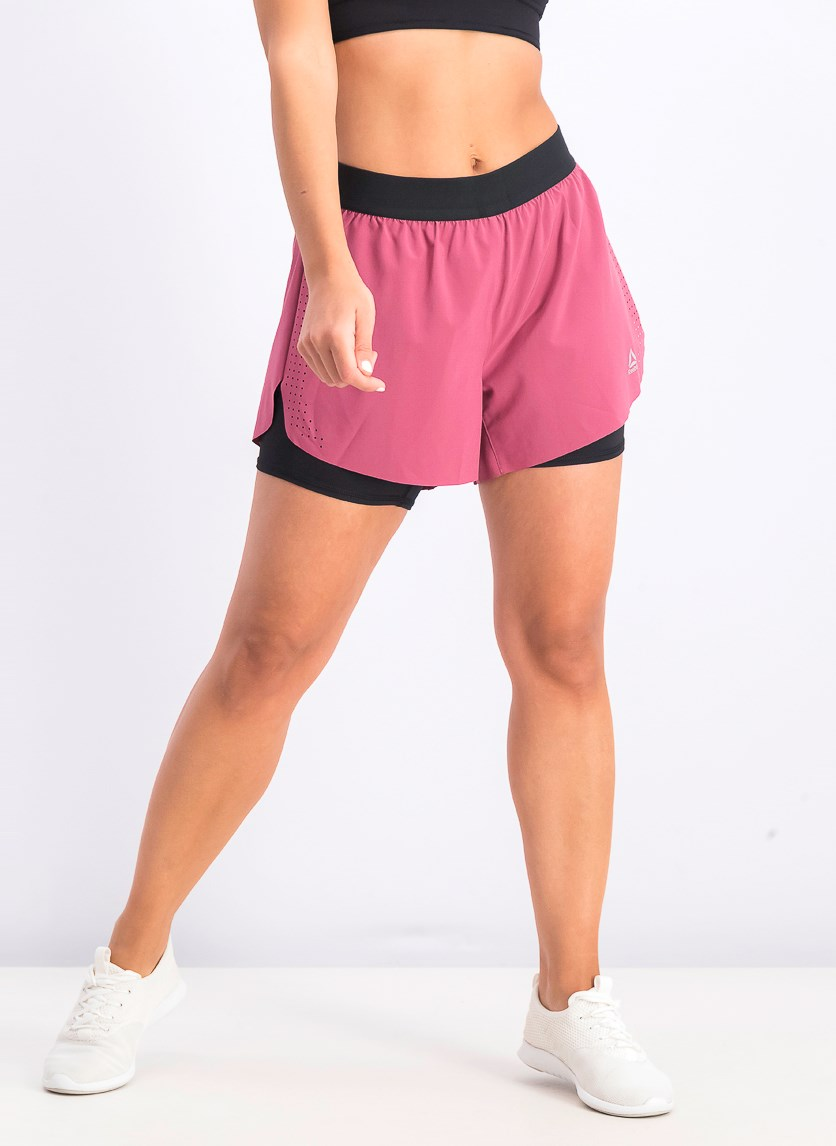 Women's 2 In 1 Perforated Epic Short, Berry/Black