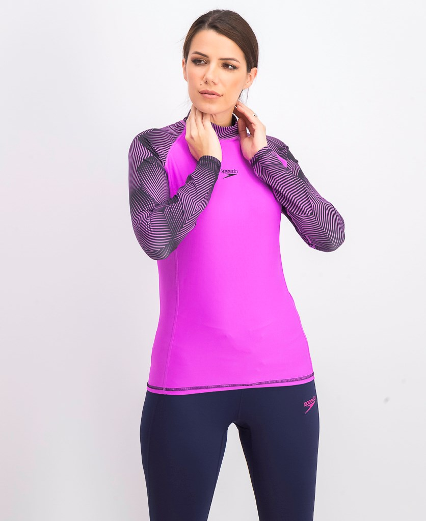 Women's Pulse Rash Guard T-Shirt, Neon Orchid/Black