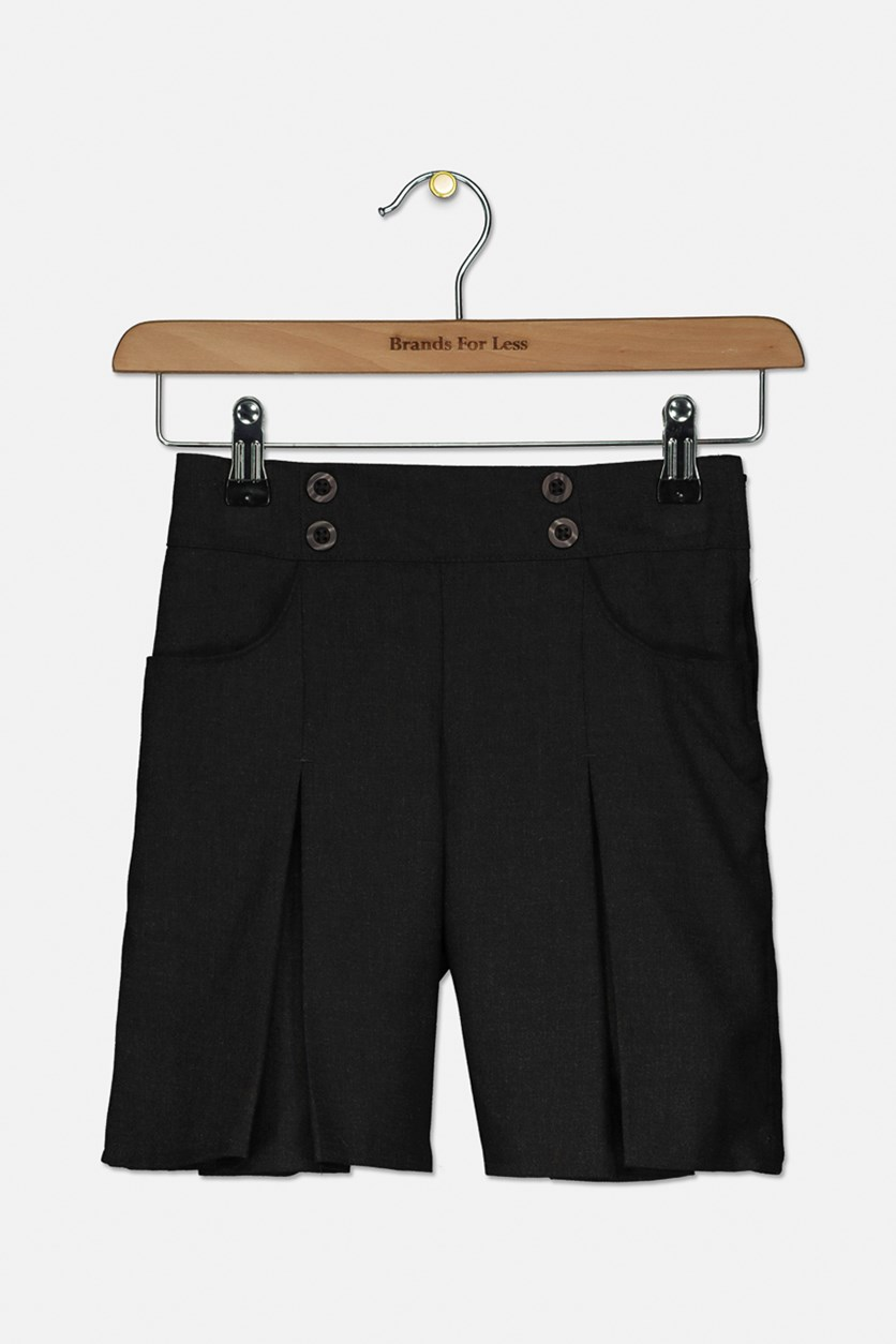 Kids Girls Pleated Short, Charcoal