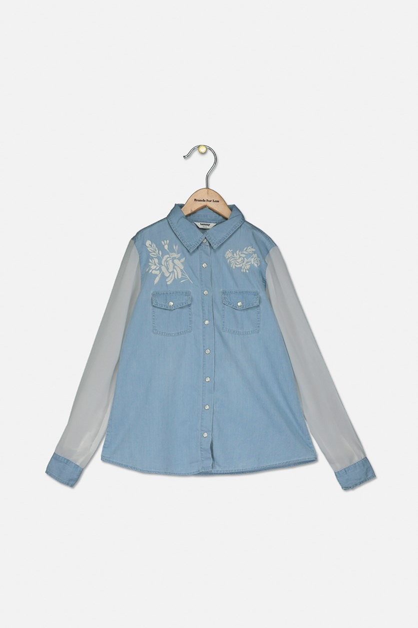 Girl's Floral Embroidered Denim Shirt, Light Blue/White