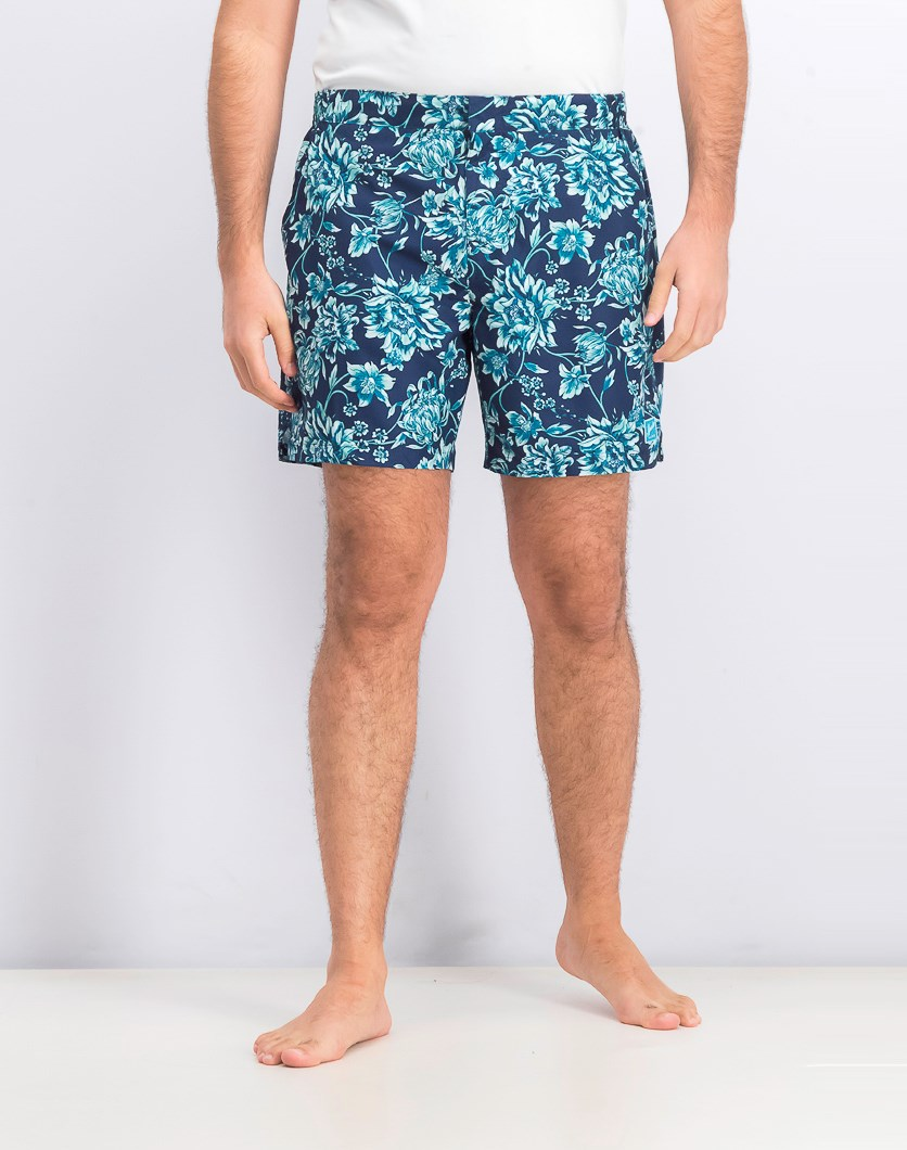 Men's Vintage Paradise Board Shorts, Navy Blue