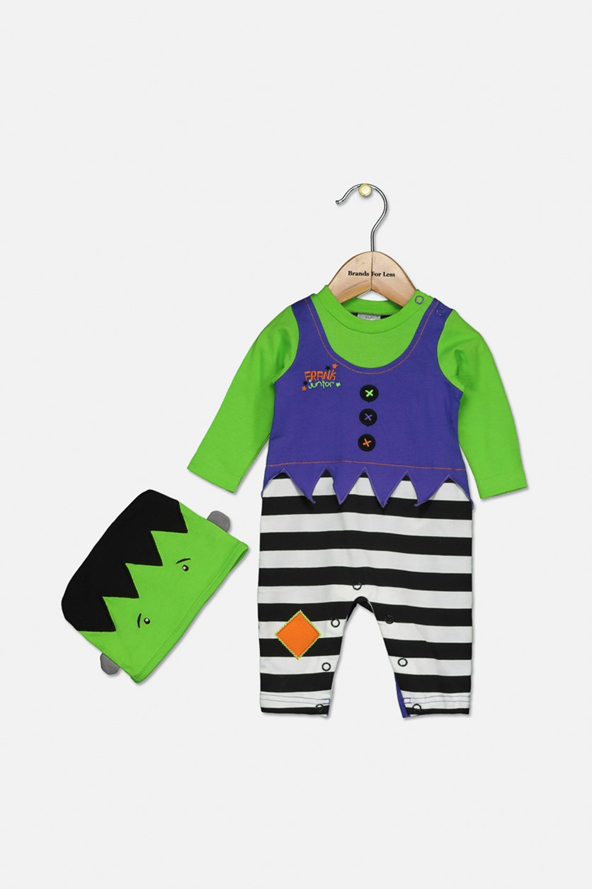Baby Boys Dress Up Bodysuit With Hat, Green/Black Combo