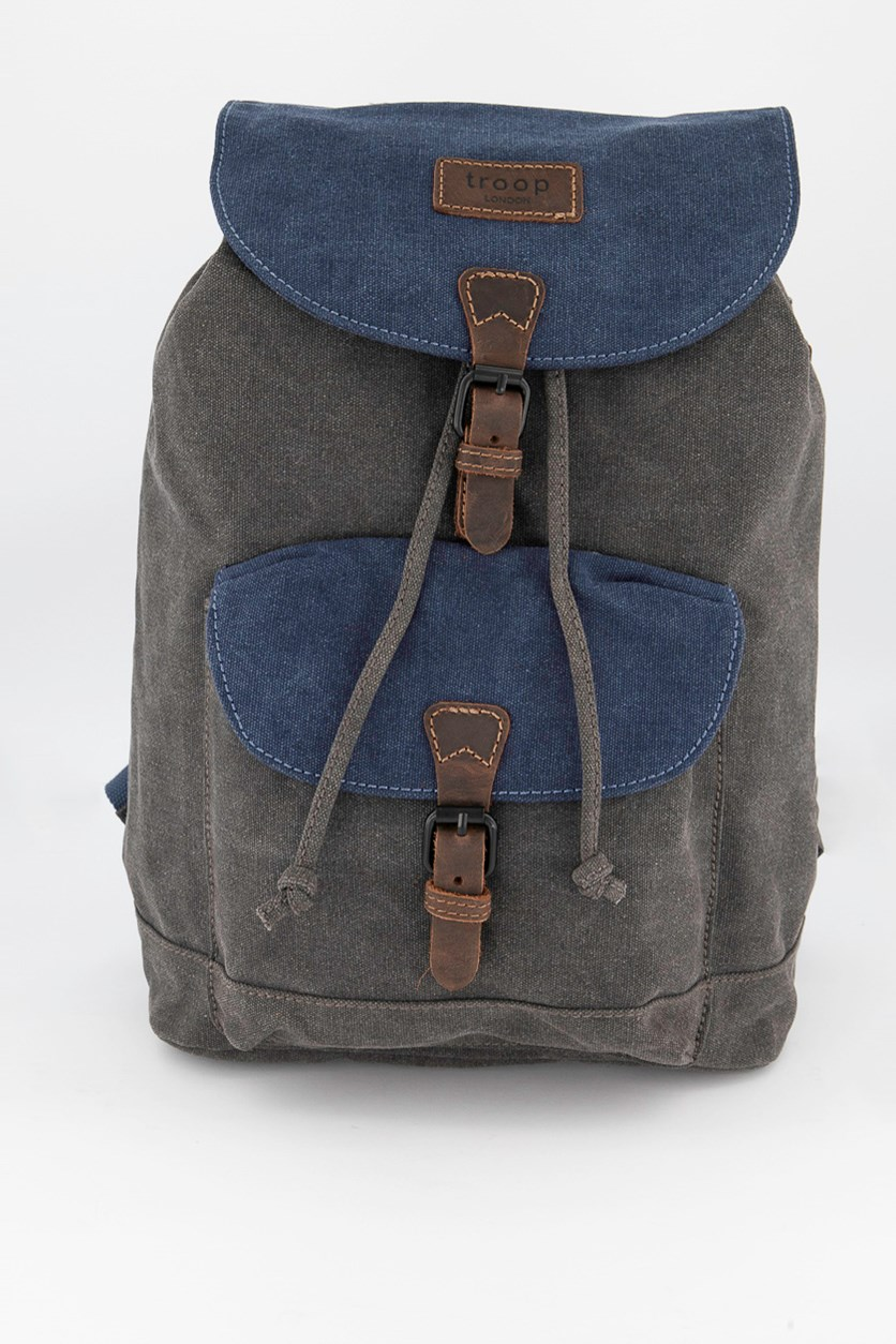 Men's Heitage Waxwd Canvas Laptop Backpack, Blue/Gray