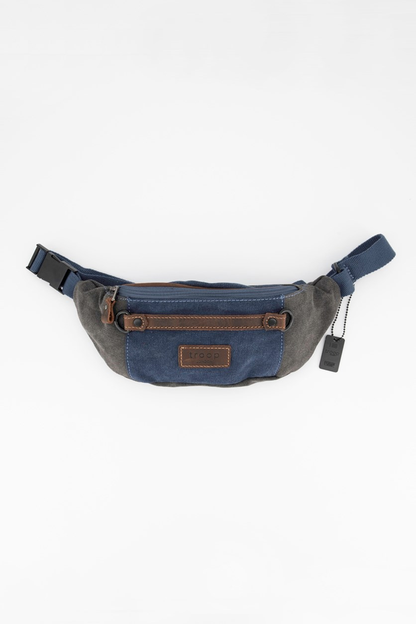 Men's Wet Wax Coated With Leather Trim Bag, Blue/Grey