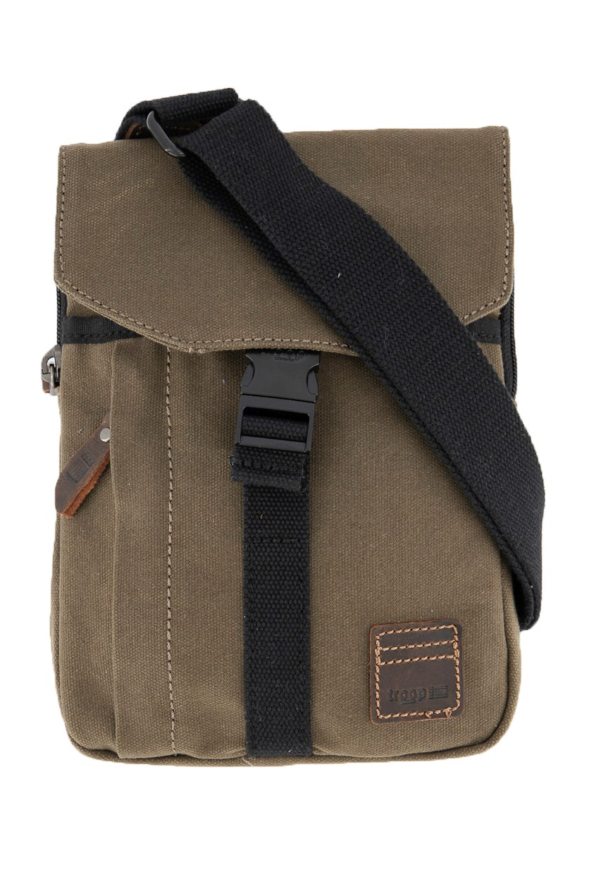 Men's Zip Pocket Wet Wax Coated Canvas With Leather Trim Sling Bag, Olive