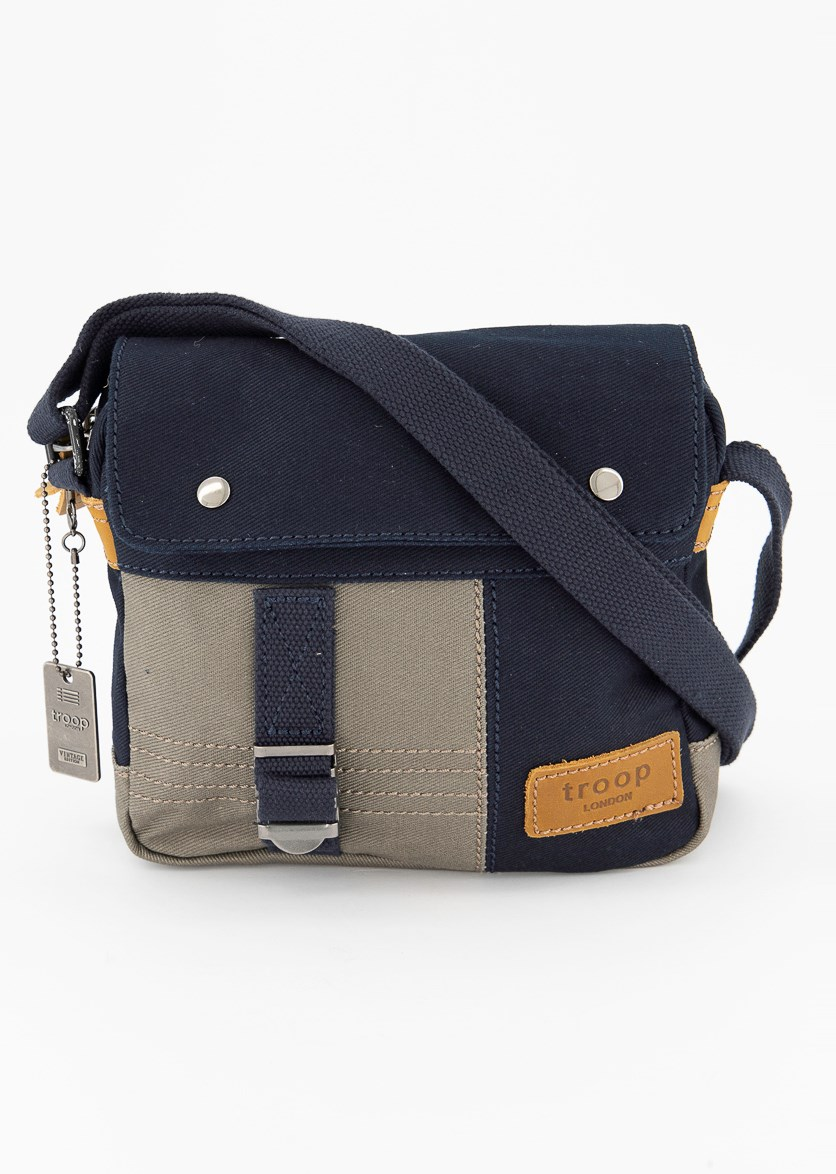 Men's Twill Canvass Leather Bag, Navy/Grey