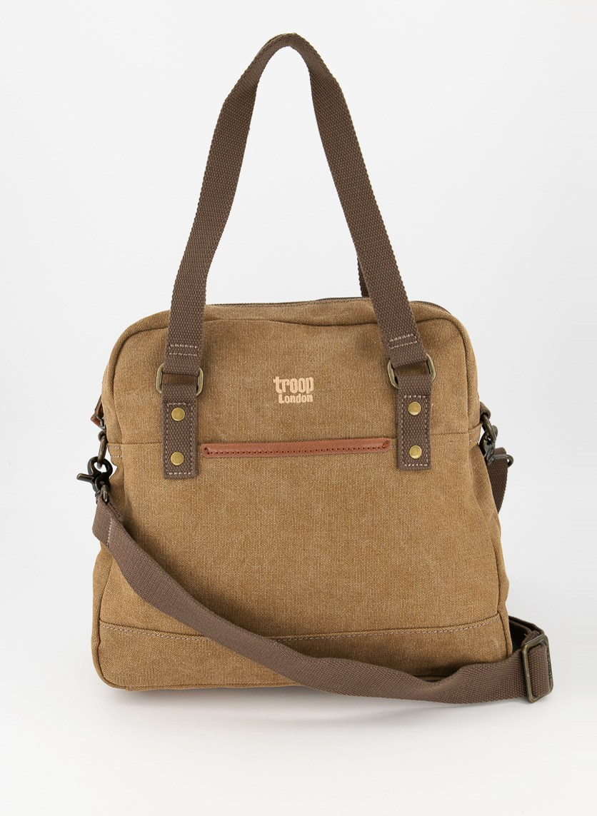 Men's Stone Wash Canvas with Leather Trim Bag, Brown