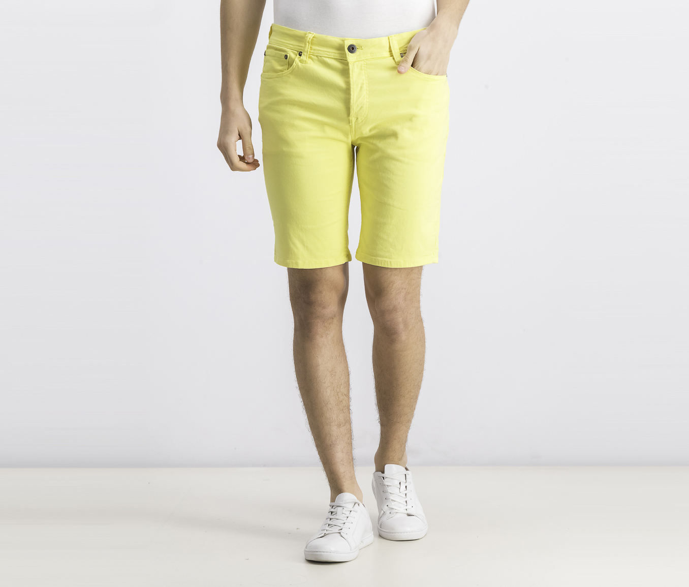 Men's Knit Shorts, Celandine
