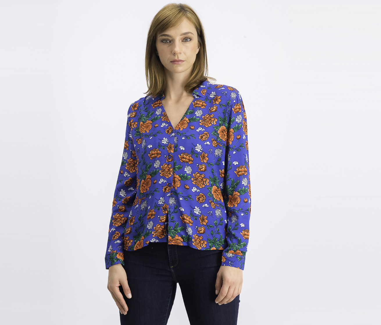 Women's Floral Longsleeve Top, Blue Combo