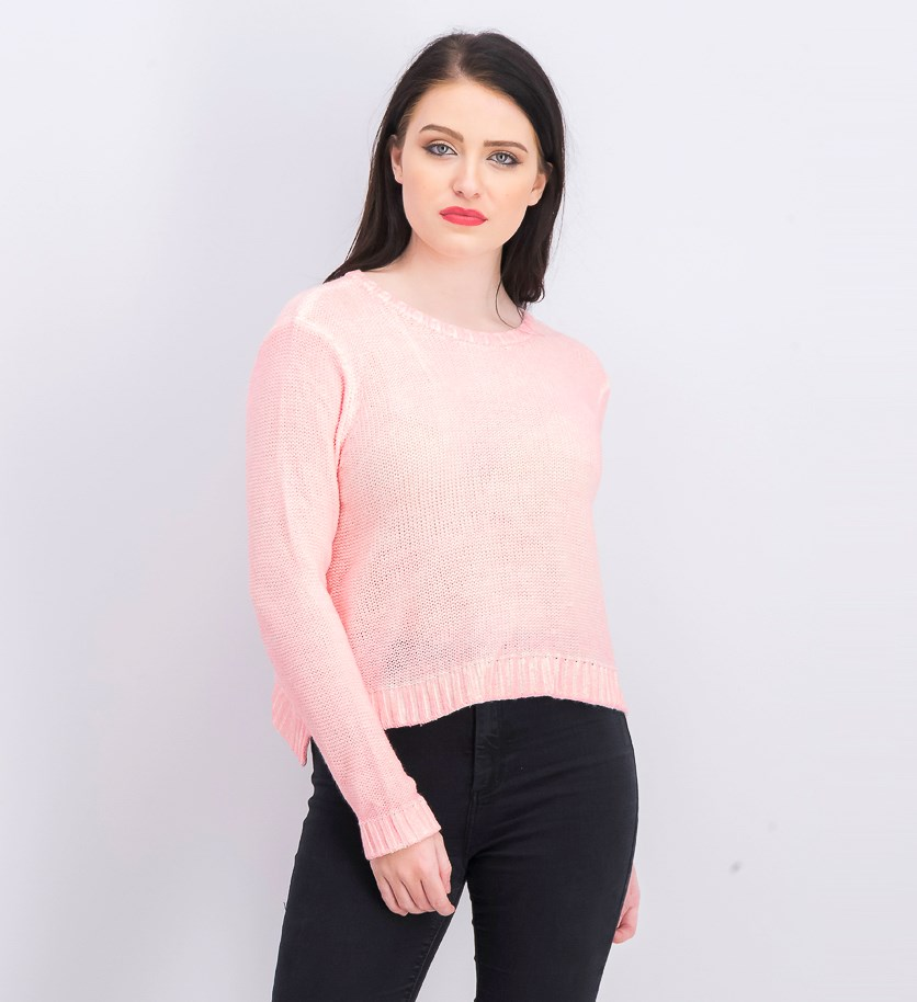 Women's Long Sleeve Knit Sweater, Pink