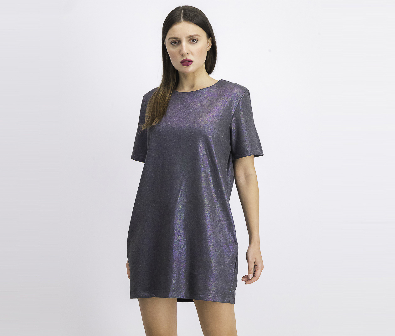 Womens Colored Metallic Dress, Charcoal Combo