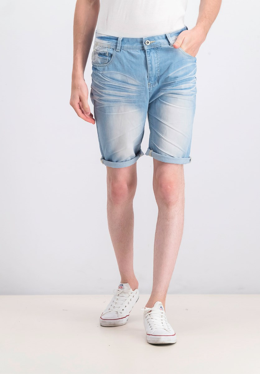 Men's Wash Denim Short, Light Blue